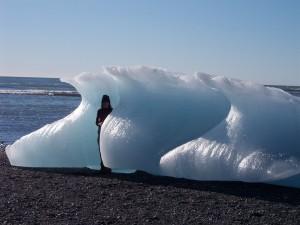 Jokulsarlon, Iceland, iceberg calf melting into the sea.